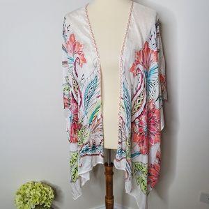 Chico's floral braided kimono size 1